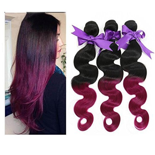 Angel Hair 5A Ombre Hair Extensions 12-30 Inch Purple Red