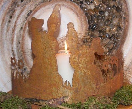 Rost Decoración CONEJOS sobre PRADO, mesa y decoración de Jardín Pascua, PATINA FIGURAS DE METAL