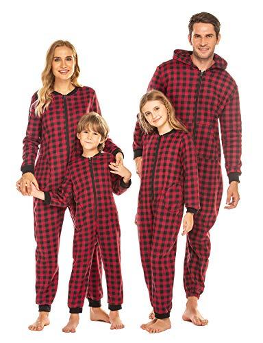 Bricnat Kinder Jumpsuit Weihnachten drucken Schlafoverall Fleece Lounge Wear Pyjamas für Junge Mädchen Damen Herren für Familie Passende Sets