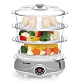 Excelvan 3 Tier Digital Compact Food Vegetables Steamer, 11L, 1000W, Multi-functional, Healthy Cooking, Grey & White