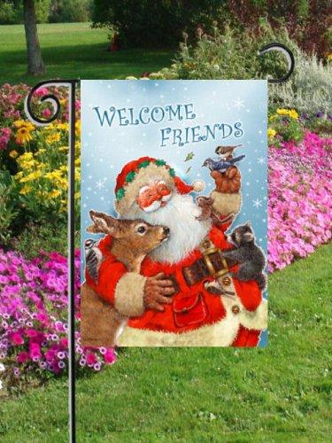 Babbo Natale-Amici-Amici di benvenuto da giardino Dimensioni 30,5x 45,7cm Decorative Bandiera