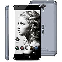 """Ulefone Power 2 - 4G Smartphone Libre ( Android 7.0, 5.5"""" FHD Pantalla, Resolución 1080 x 1920, MT6750T Octa Core 1.5GHz, 4Gb Ram 64GB ROM, Dual Sim, Cámara Dual 13MP + 5MP, Dual Wifi, 6050mAh Batería, Identificación de Huellas, Inteligente Gesto ) (Gris)"""