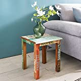 Wohnling Design Beistelltisch SURAT40x40x45 cm Mango Massiv Holz Tisch | Telefontisch Shabby Vintage | Holztisch Quadratisch Modern Bunt | Ablagetisch Echtholz
