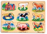Enlarge toy image: Melissa & Doug Farm Sound Puzzle - Wooden Peg Puzzle With Sound Effects (8 pcs) - toddler baby activity product