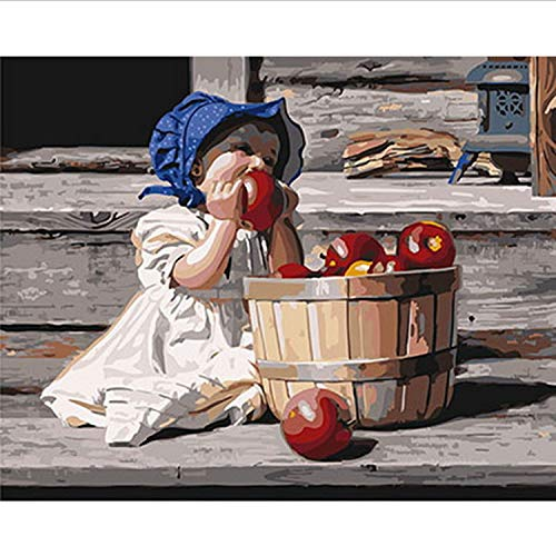 CBUSYS Rahmenlose Malen Nach Zahlen DIY Bild Ölgemälde Auf Leinwand Für Wohnkultur Tiermalerei 4050 Baby Mit Apfel