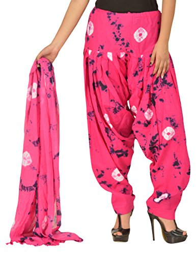 Gurukripa Women\'s Cotton Patiala with Dupatta (Pink)