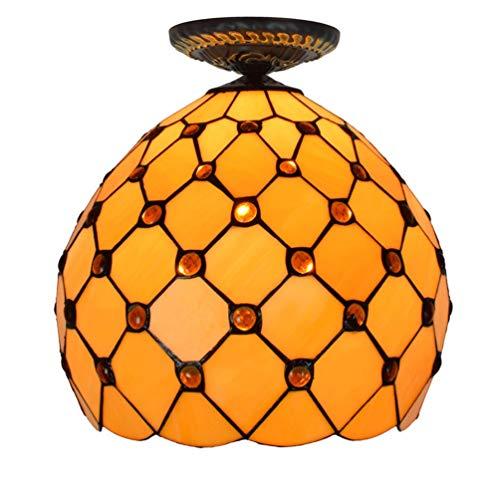 Tiffany Stil Retro Europäischen Semi Flush Deckenleuchte Farbe Glas Gelb Perlen Handgefertigte Lampenschirm Geeignet für Wohnzimmer Schlafzimmer Restaurant Bar Gang Flur Coffee Shop ( watt : 110V )