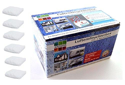 6 x 1200 Gramm (3B) Luftentfeuchter Nachfüllpack Vliesbeutel XXL Box Granulate Nachfüllen Raumentfeuchter + gratis Microfasertuch -VANI- 30 x 30 cm