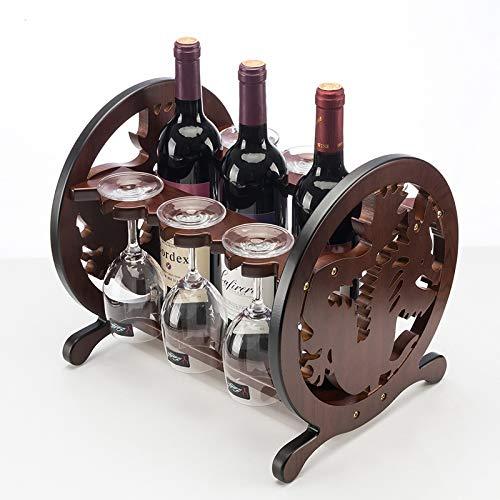 Mkuha Weinflaschenhalter Weinregal Flaschenregal für 3 Flaschen und 6 Tassen Weinhalter...