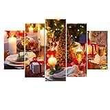 Luccase Leinwanddruck Gemälde Kit Weihnachten Stil 5 Stück Ohne Holzrahmen HD Leinwand Drucken Home Dekor Bild Wandkunst Malerei für Glatte Wände (E)