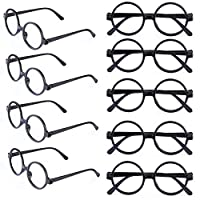 Beefunny 9 Pcs Black Plastic Wizard Glasses Kids Round Glasses Frame No Lenses Eyeglasses Posing Props Costume,for Kids Favor Halloween, Magician Glasses Costume Party Supplies Party Bag Fillers