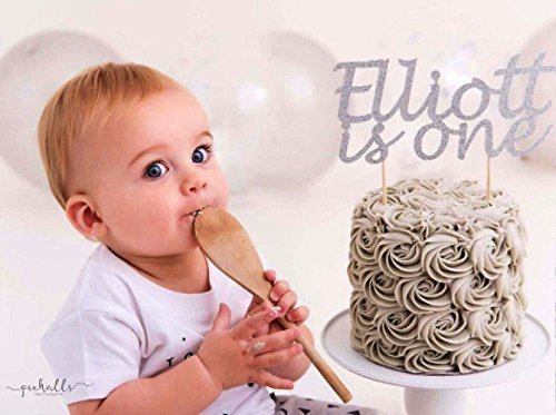 First Birthday Boy Glitter Cake Topper Party Decoration Custom Name Age