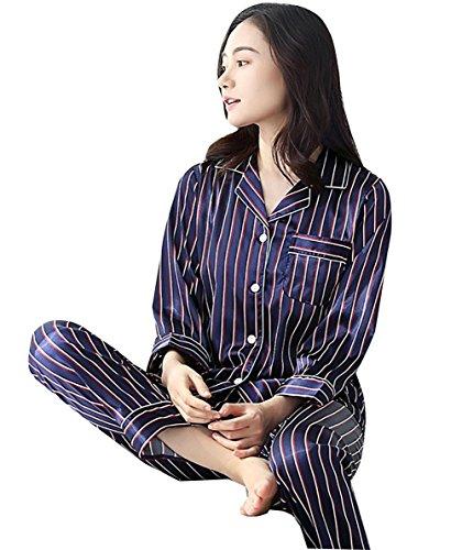 Womens Striped Pyjamas Silk Lässige Mode Hause Kleidung Nachtwäsche, 3, XL (Für Günstige Silk-roben Frauen)