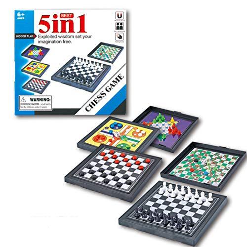 GUOGUO Spielesammlung 5 in 1 Brettspiele Dame / Schach / Fliegendes Schach Ludo / chinesische Kontrolleure / Snakes und Ladders für Kinder und Erwachsene - Snakes Ladders