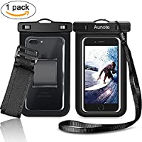 Waterproof Phone Case Aunote Universal Dry Bag Pouch Lanyard And Armband for Outdoor Activities Apple IPhone 7/7 Plus/6/6s/6 Plus/5s/5c/5 Samsung galaxy S8/ S8 Plus/S7/S6 or Any Cell Phone Holder Black