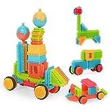 NextX Bristle Blocks Noppenbausteine Konstruktionsspielzeug ab 2 Jahre Pädagogische Bausteine Für Junge und Mädchen (90pcs) Weihnachtsgeschenk