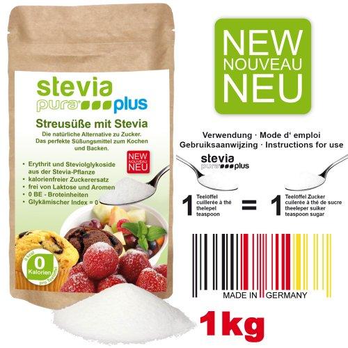 Stevia Plus, Süßstoff (Streusüße | steviapuraPlus Zuckerersatz - 1kg - Aktionspreis | der Zuckerersatz mit Erythritol und Stevia, die natürliche Alternative zu Zucker | zuckerfrei)