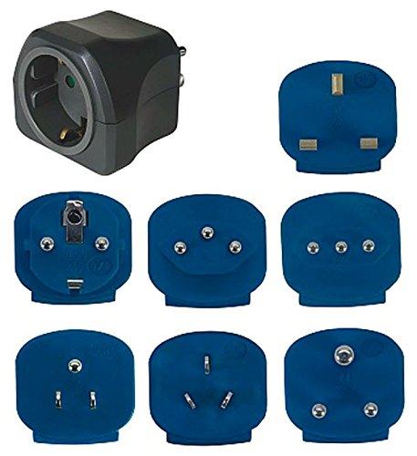 Brennenstuhl Reisestecker-Set, Steckdosenadapter mit verschiedenen Aufsätzen für mehr als 150 Länder (7 x Steckereinsätze) Farbe: schwarz