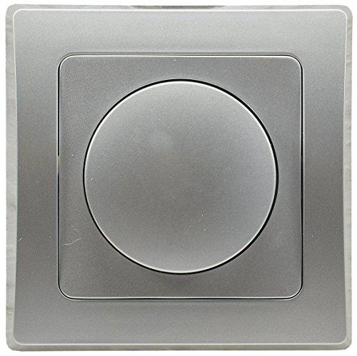 Delphi LED Dimmer Dimm-Schalter Unterputz 230V LED 3-35W Halogen 7-110W inkl. Rahmen Drehknopf Silber