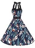 Dressystar DS1957 Robe de Bal Polka Vintage pin-up à 'Audrey Hepburn' 50's 60's Rockabilly Halter,Dos Nu, Feuilles et Fleurs XL