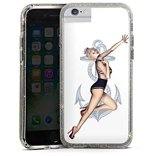 Apple iPhone 6s Plus Bumper Hülle Bumper Case Glitzer Hülle Rock N Roll Pin Up Girl Bumper Case Glitzer gold