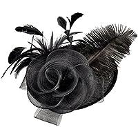 FENICAL Sombrero elegante de la novia de las mujeres Sombrero de la avestruz Tocado de Flaxen Sombrero del banquete Sombrero de la fotografía de la boda (Negro)
