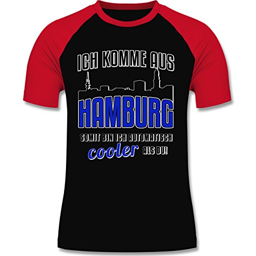 Städte - Ich komme aus Hamburg - zweifarbiges Baseballshirt für Männer Schwarz/Rot
