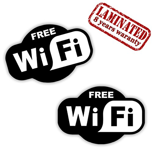 Preisvergleich Produktbild 2 STÜCK Vinyl Aufkleber Stickers Free GRATIS KOSTENLOSE Wifi Internet Zeichen FÜR Kneipen GESCHÄFT Hotel Cafe VITRINE Fenster Auto B 91