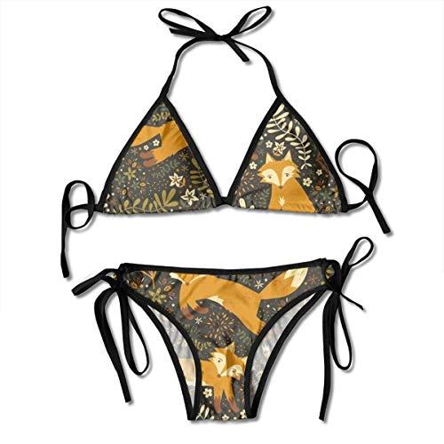 Women Sexy Swimwear Set Fox in The Forest Tie Side Padding Bathing Swimsuit -