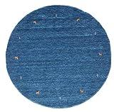 CarpetVista Gabbeh Loom - Blau Teppich Ø 200 Orientalischer, Rund Teppich