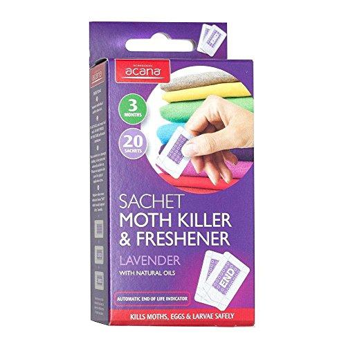 Acana Lot de 20 sachets Anti-Mites et désodorisants parfumés à la Lavande, 40 Moth Killer Sachets