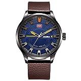 RAN-R- El Calendario Multifuncional del Reloj de la Manera de los Hombres Muestra el Reloj Impermeable de la Correa de Cuero de la aleación, 001