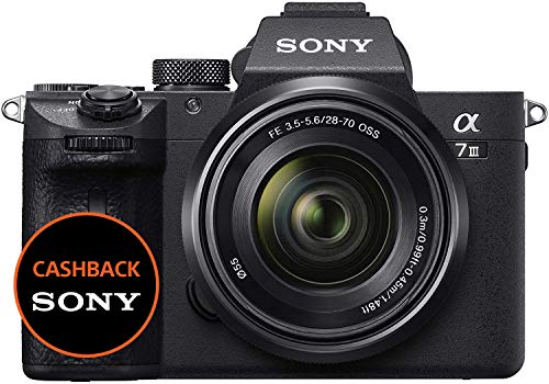 sony alpha 7m3k kit fotocamera digitale mirrorless full-frame con obiettivo intercambiabile sel 28-70 mm, sensore cmos exmor full-frame da 24.2 mp retroilluminato, dual slot, ilce7m3b + sel2870, nero