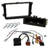 2-Din und 1-Din Skoda Autoradio und Navi Einbauset mit Radioblende, Quadlock / ISO Radioadapter und Phantomspeisung.