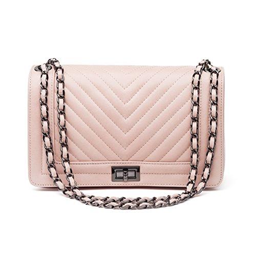 Almo - Borsa in pelle da donna made in Italy, colore: rosa antico, a tracolla o a spalla