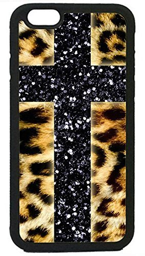 Friendship boat The Force Series - Sleek, Stunning & Unique -Leopard Cheetah Print Glitter Cross Not Actual Glitter Rubber Silicon Black Case for iPhone 6 PLUS/6S Plus (5.5 in), by Cell World LLC- Tm Glitter Cheetah Print