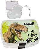 ' Dinosaurier T-Rex ' - Brotdose incl. extra Einlage / Einlagefach - incl. Name - Lunchbox - Brotkasten für Vesper Frühstück Brotzeitdose / Brotzeitbox - Dino / Einlagefach - Brotbüchse Küche Essen für Jungen Kinder Vesperdose