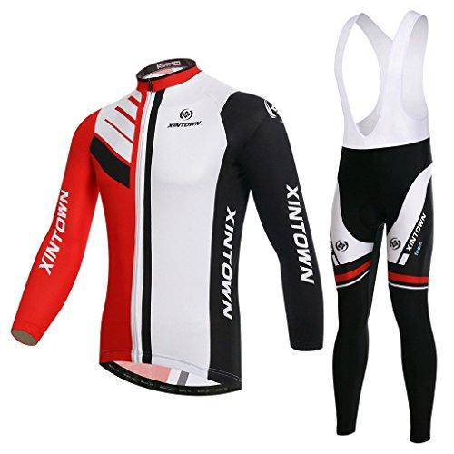 SKYSPER Herren Fahrradbekleidung Langarm Radtrikot Set Outdoor Radsport Gemütlich Radkleidung Trikot Jersey + Lange Radlerhose im Winter
