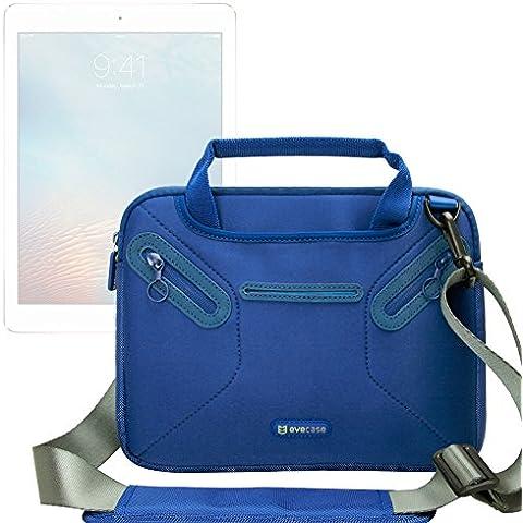 Evecase Maletín para Apple iPad Air 2 / iPad Air / iPad 4 / 3 Bolso Mensajero de Neopreno con Manijas, Correa de Hombro y Bolsillos para accesorios (Azul)