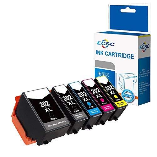 ECSC Compatibile Inchiostro Cartuccia Sostituzione Per Epson XP-6000 XP-6005-202XL (B/PB/C/M/Y, 5-Pack)