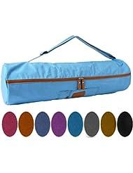 Bolsa de yoga »Sunita«, talla L de #DoYourYoga / Fabricada con lienzo (lona) de gran calidad, con un laborioso acabado / Para esterillas de yoga y de gimnasia EXTRAGRANDES de hasta 186 x 63 x 0,6 cm / lila