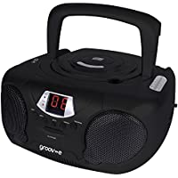 Groov-e Boombox Portable CD Player with Radio & Headphone Jack - Black