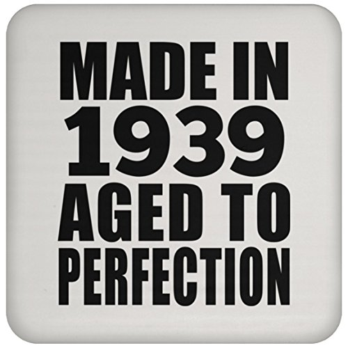 Birthday Gift Idea Made in 1939 Aged to Perfection - Drink Coaster Non Slip Cork Back Protective Mat Funny Happy Gag for Women Men Mom Dad Husband Wife Girl-Friend Boy-Friend Best-Friend