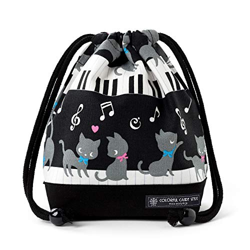 Black Cat Waltz dancing on the (small size) with gusset bag cup piano drawstring Gokigen lunch (black) x Ox black made in Japan N3560300 (japan import)