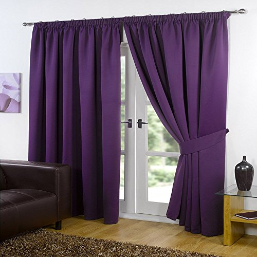 Dreamscene Luxury Fully Lined Pair Thermal Blackout Pencil Pleat Curtains with Tiebacks, Polyester, plum, 46 x 72 Inch