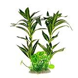 Saim Aquarium Kunststoff Pflanze Fake Pflanzen Grün Rohdea Japonica Wasser Gras Künstliche Wasser Pflanze Dekoration für Aquarium, Das, 29,7cm Höhe