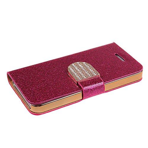 iPhone 5S Handyhülle,iPhone SE Case,iPhone 5 Hülle - Felfy Sleek Simple Gold Luxury Luxus Bling Sparkle Flip PU Leder Wallet Case Tasche Schutz hülle Etui für Apple iPhone 5S 5 + 1x Golden Touch Stylu Hot Pink