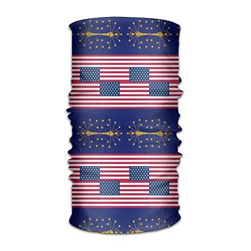 Ncutakuzvmr Unisex Usa Indiana Falg Multifunctional Bandanas Sweatband Elastic Turban Headwear Headscarf Beanie Kerchief