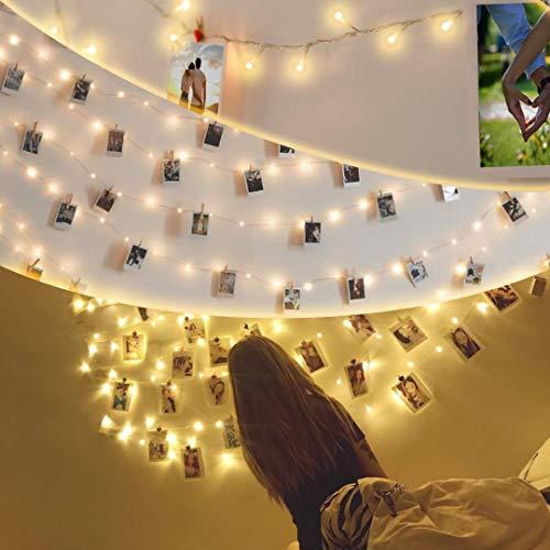 party deko lichterkette außen gartendeko 10m Geeignet balkon deko, 100 led deko lichterkette batterie für zimmer lichterkette mit klammern für fotos 50 Holzklammern & 20 Nicht-Spuren-Nagel