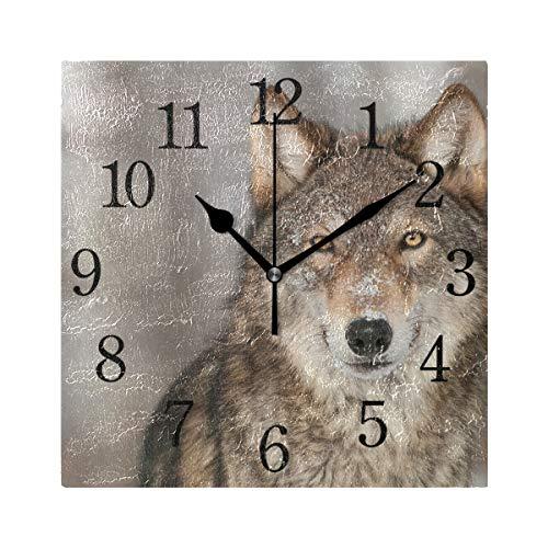 WowPrint Quadratische Wanduhr, Wildlife Wolf, Acryl, Nicht tickend, dekorative Kunst-Malerei für Büro, Klassenzimmer, Schlafzimmer, Wohnzimmer, Badezimmer, Küche, Dekor Küche Dekor